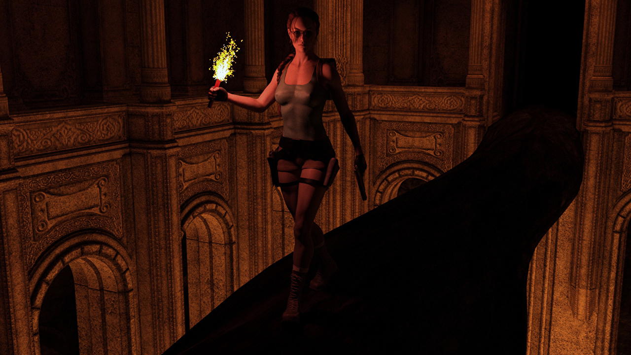 Картинка Tomb Raider Tomb Raider Legend Лара Крофт 3д молодые женщины Игры факела Девушки девушка 3D Графика молодая женщина компьютерная игра Факел факелом
