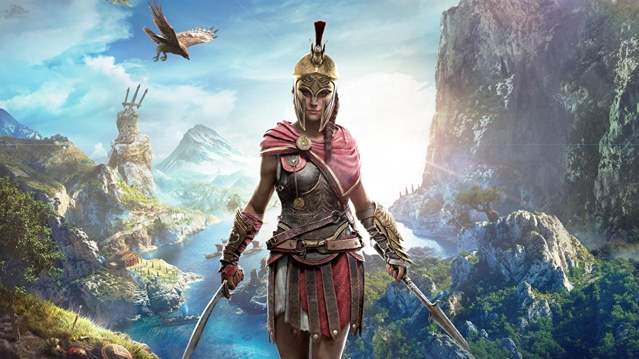 Обои для рабочего стола Assassin's Creed Odyssey воин шлема Девушки Игры Шлем воины в шлеме Воители девушка молодые женщины молодая женщина компьютерная игра