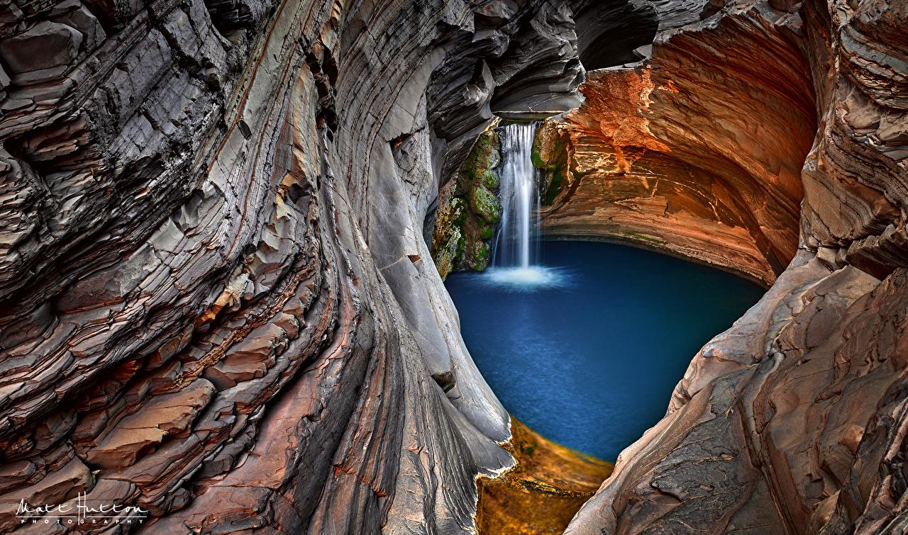 Фотографии Австралия Western Australia скале Природа Водопады Утес Скала скалы