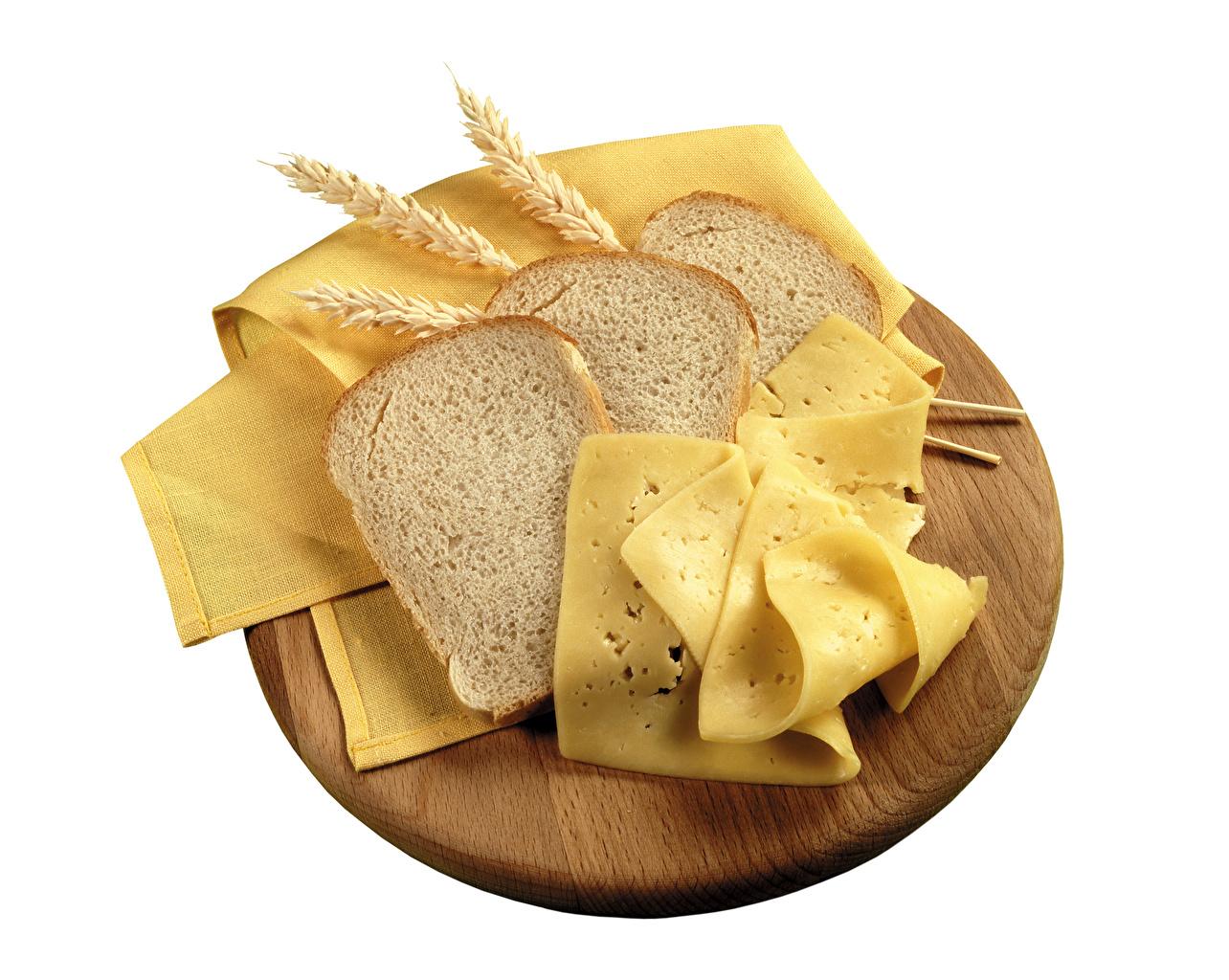 Картинки Хлеб Сыры Колос Продукты питания Белый фон Еда Пища