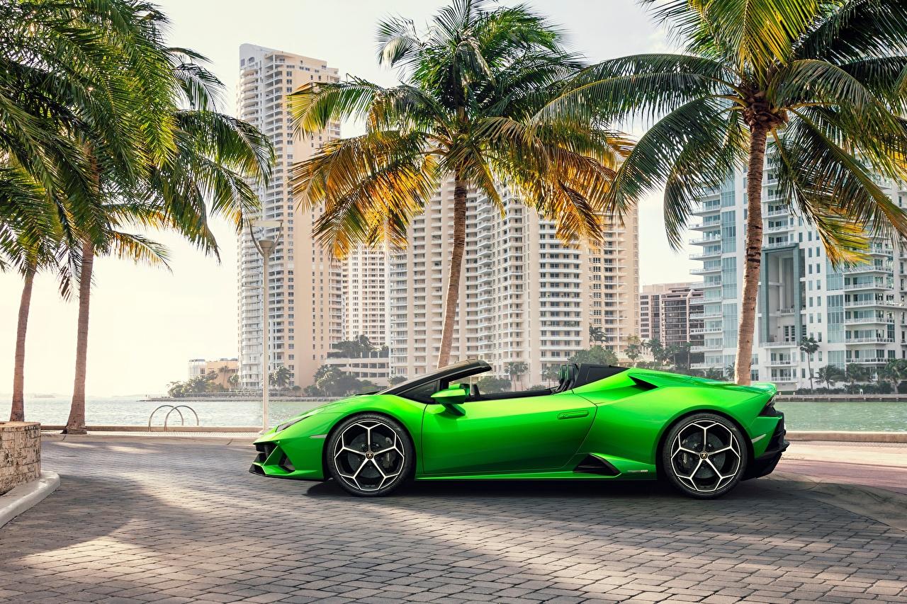 Обои для рабочего стола Ламборгини Spyder Evo Huracan Родстер Зеленый Сбоку машины Lamborghini зеленая зеленые зеленых авто машина Автомобили автомобиль