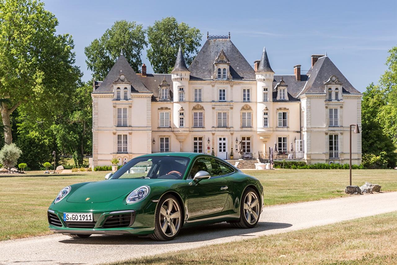 Фото Porsche 2017 911 Carrera S Coupe One Millionth Зеленый машина Металлик Порше зеленых зеленые зеленая авто машины автомобиль Автомобили