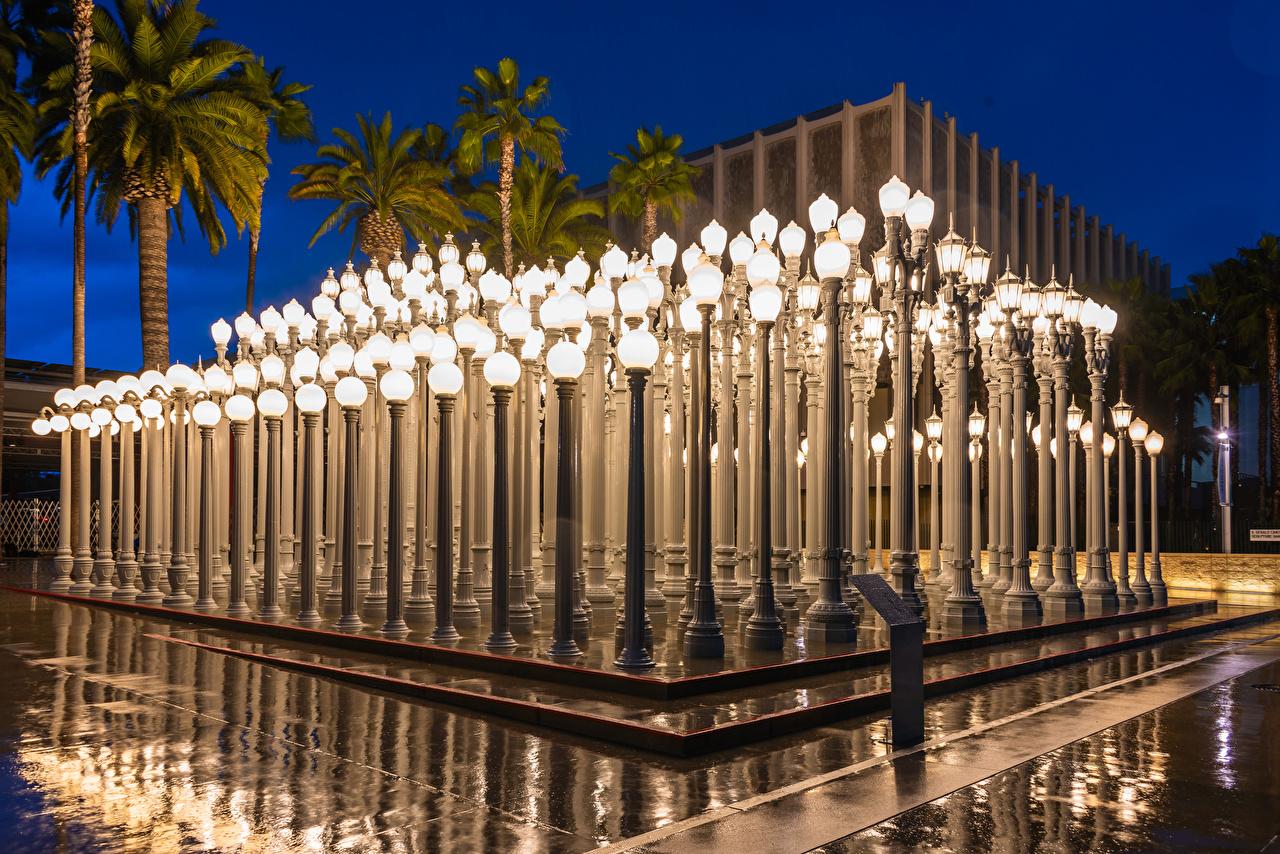 Картинки Лос-Анджелес штаты Музей Los Angeles County Museum of Art Вечер Уличные фонари Города Дизайн США америка музеи город дизайна