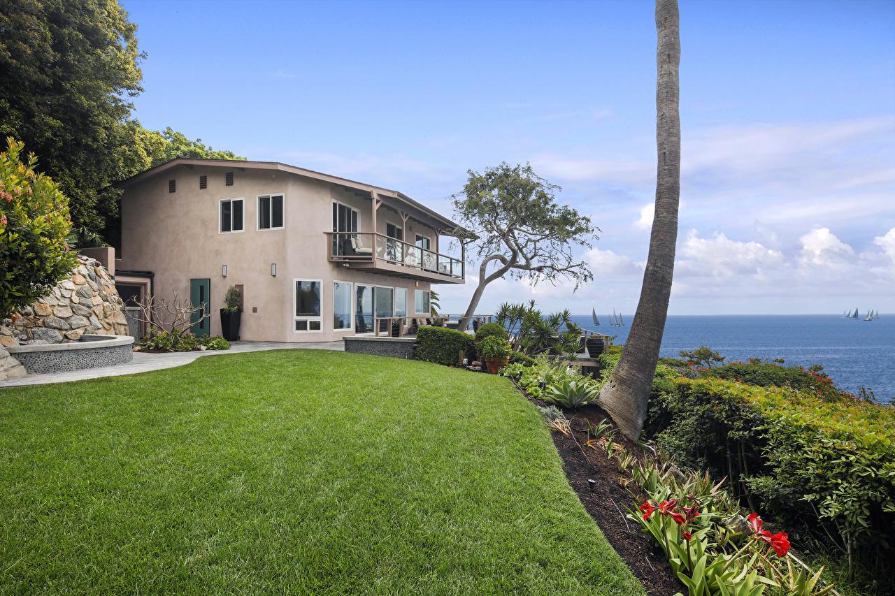 Фото США Laguna Beach Особняк Газон Дома Города Дизайн штаты Здания
