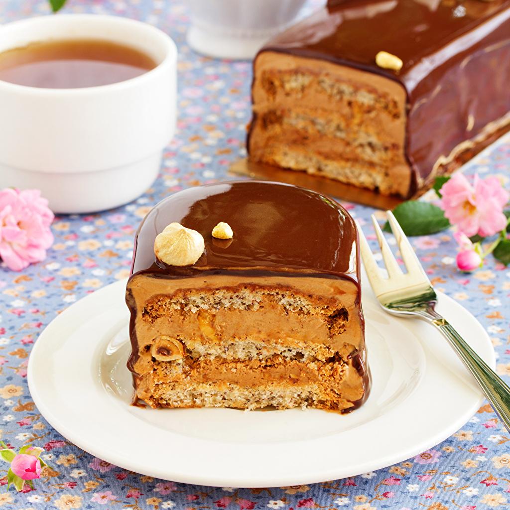 Картинка Шоколад Чай Торты Тарелка Продукты питания Выпечка Сладости Еда Пища тарелке