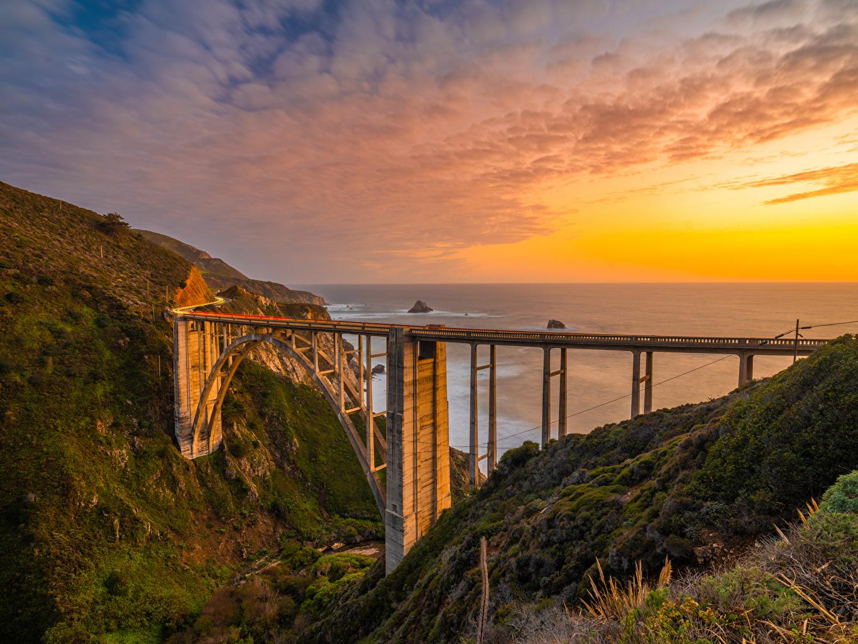 Фотографии Калифорния америка Bixby Creek Bridge мост Природа Рассветы и закаты берег калифорнии США штаты Мосты рассвет и закат Побережье