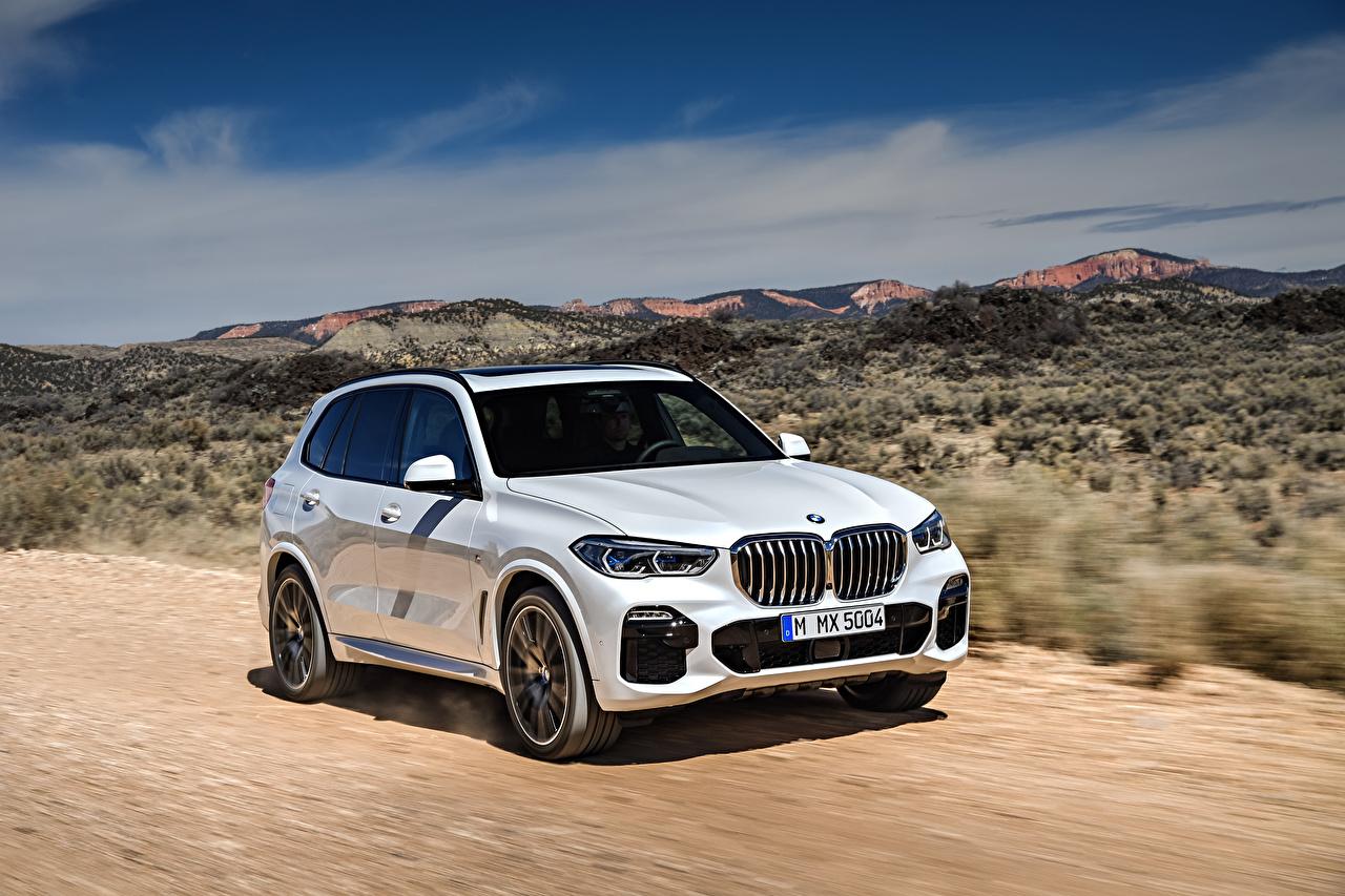 Картинка BMW 2018 X5 xDrive30d M Sport Worldwide белая авто БМВ белых белые Белый машина машины автомобиль Автомобили