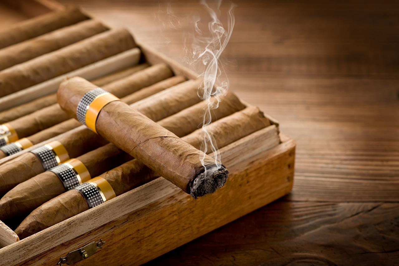 Фото Сигара Дым вблизи сигары сигарой дымит Крупным планом