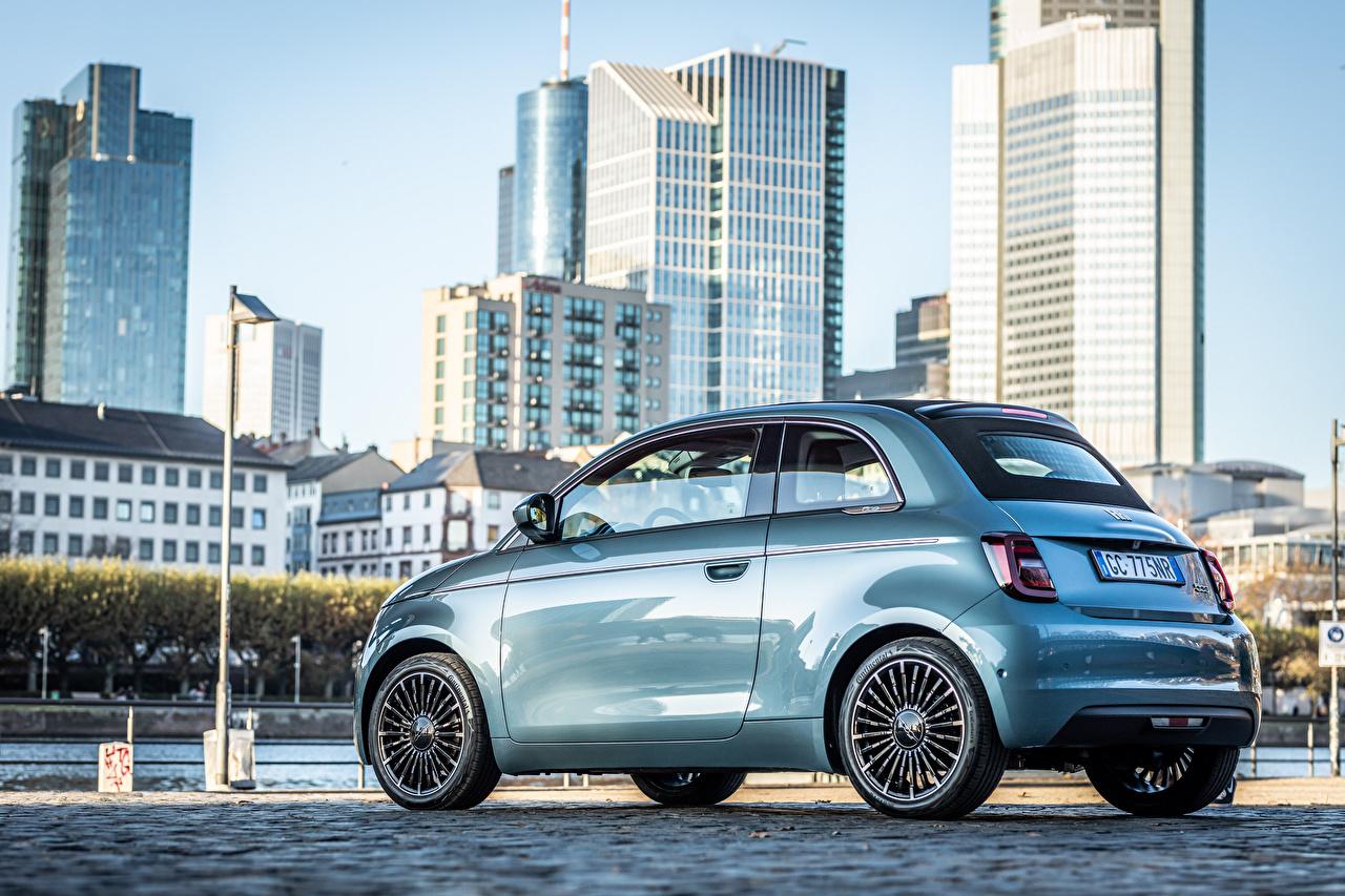 Фотографии Fiat 500 Cabrio (332), 2020 голубая Сбоку Металлик автомобиль Фиат Голубой голубые голубых авто машины машина Автомобили
