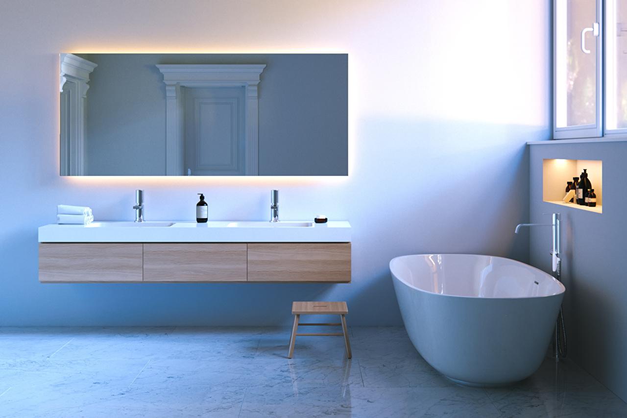 Фото Ванная 3д Интерьер Зеркало Дизайн 3D Графика зеркал зеркала дизайна