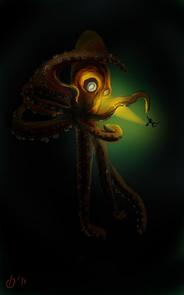 Фото Фантастика Подводный мир чудовище осминог  для мобильного телефона Фэнтези монстр Монстры Осьминоги