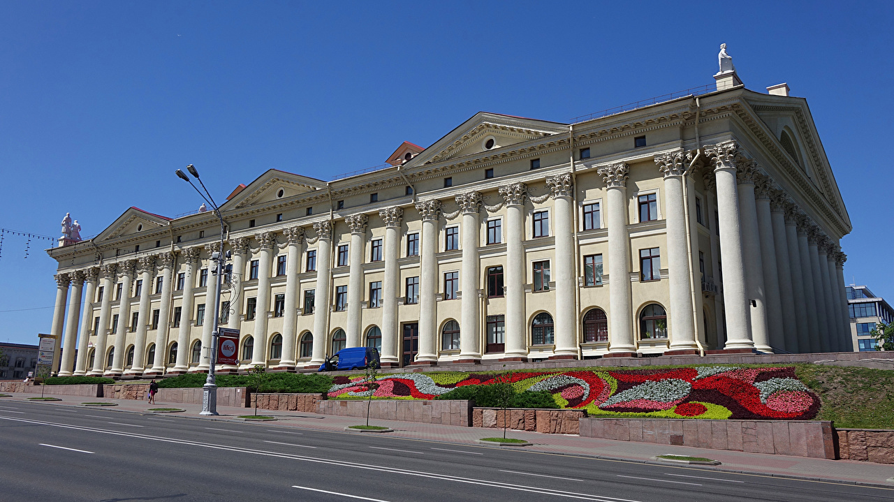 Фото Беларусь Minsk Улица Здания Города Ландшафтный дизайн Дома