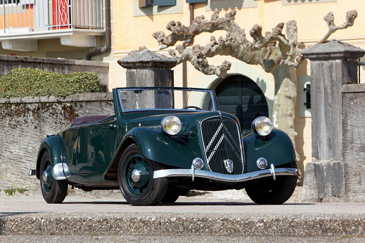 Обои для рабочего стола Ситроен 1938-39 Traction Avant 15-Six G Cabriolet кабриолета Ретро машина Металлик Citroen Кабриолет винтаж старинные авто машины автомобиль Автомобили
