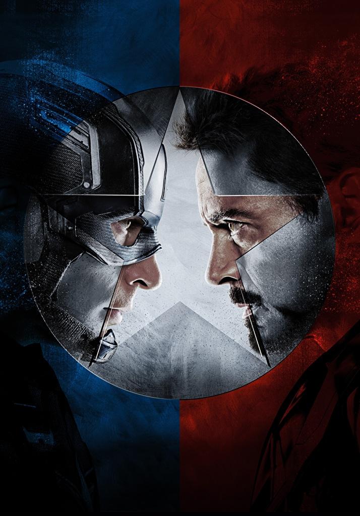 Картинка Первый мститель: Противостояние Герои комиксов Капитан Америка герой Железный человек герой два Фильмы  для мобильного телефона супергерои 2 две Двое вдвоем кино