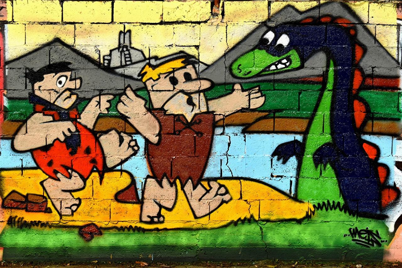 Обои для рабочего стола дракон Flintstones Граффити стенка Драконы Стена стены стене