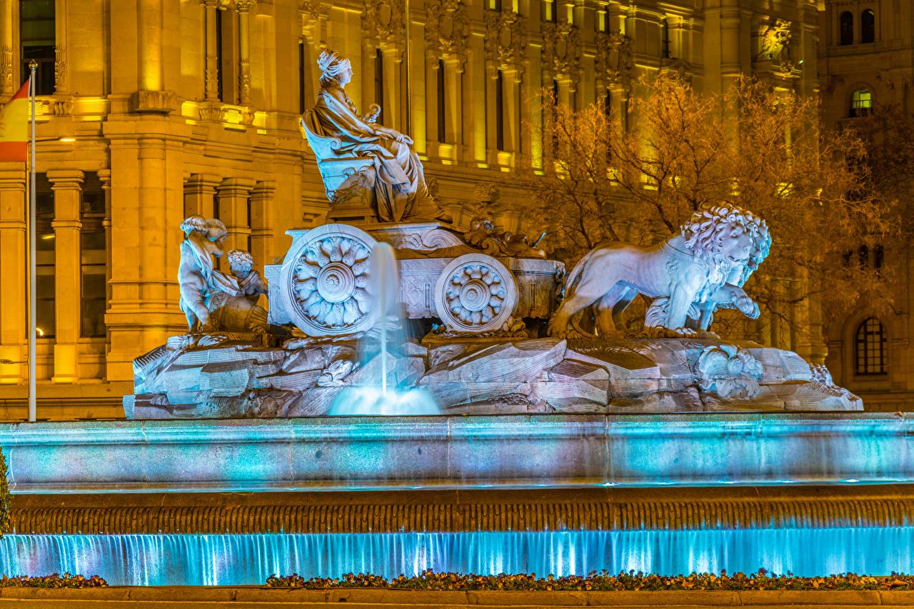 Фотография Мадрид Испания Фонтаны Cibeles Fountain Вечер город скульптура Города Скульптуры