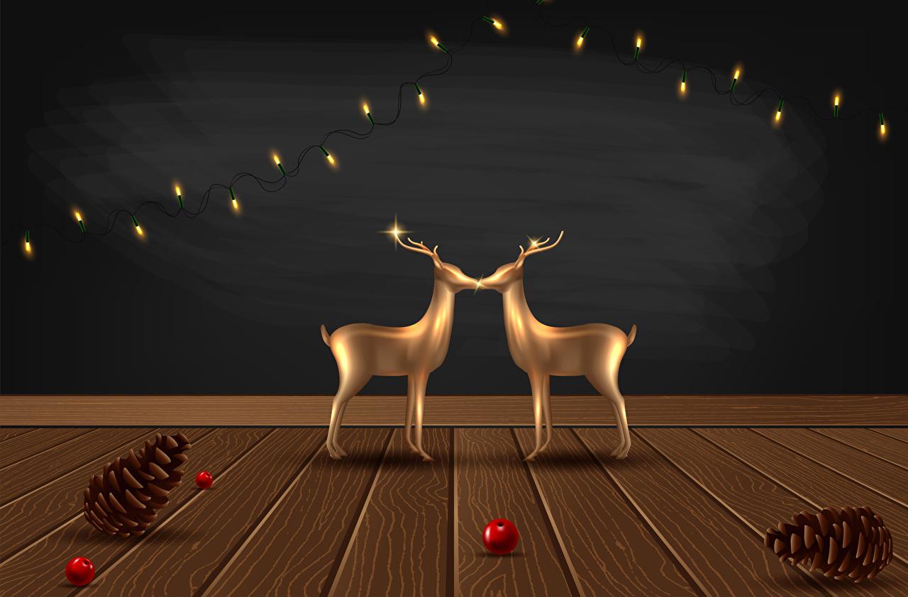 Картинка Олени Рождество Шишки Гирлянда Векторная графика Доски Новый год шишка Электрическая гирлянда