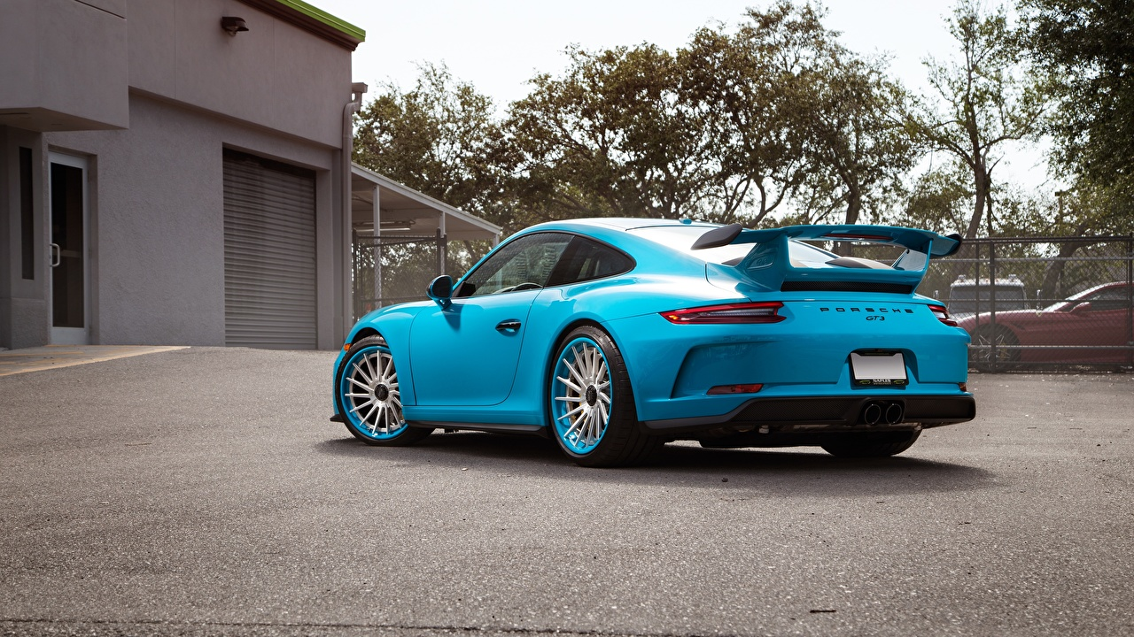 Фотография Porsche 911 GT3 Купе Голубой Металлик вид сзади Автомобили Порше голубая голубые голубых авто Сзади машины машина автомобиль
