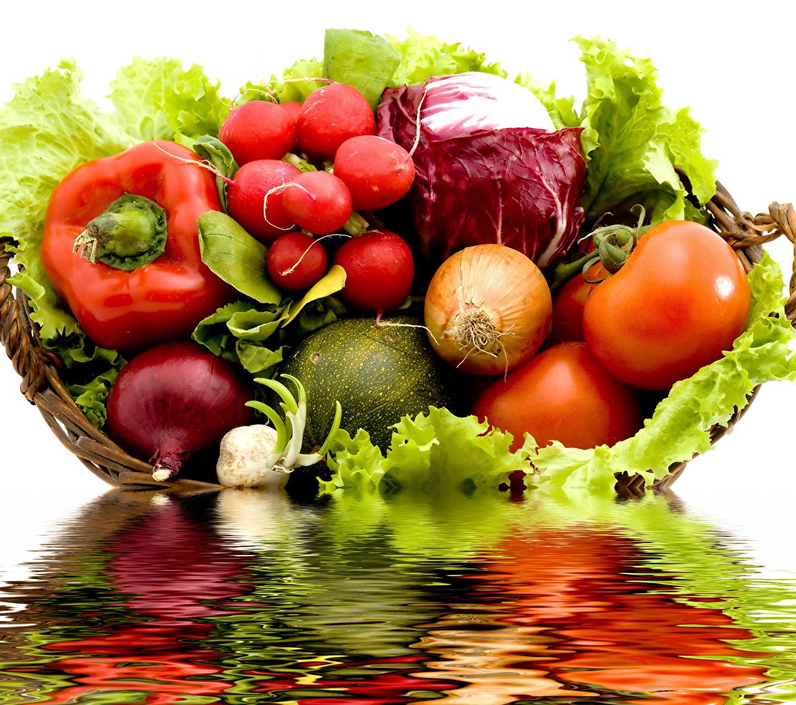 Картинки Редис Капуста Помидоры Лук репчатый Пища Перец Овощи Томаты Еда Продукты питания