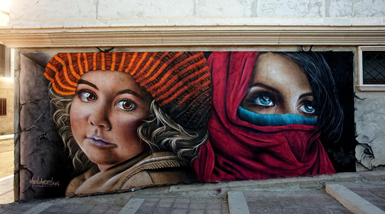 Обои для рабочего стола Глаза Лицо Граффити Стена Взгляд лица стене стены стенка смотрят смотрит