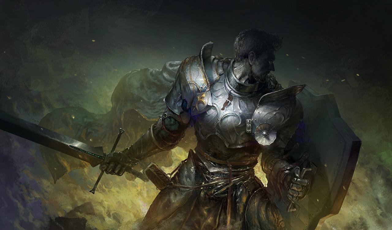 Фото Мечи щиты Рыцарь Доспехи воин Мужчины Фэнтези меч Щит меча броня броне с мечом с щитом доспехе доспехах воины Воители мужчина Фантастика