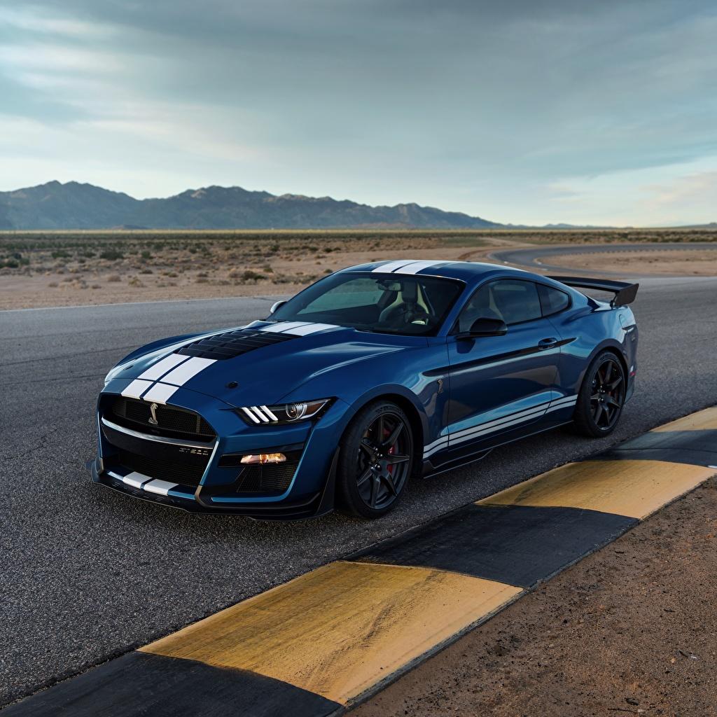 Фотография Форд Mustang Shelby GT500 2019 синяя авто Ford Синий синие синих машина машины Автомобили автомобиль