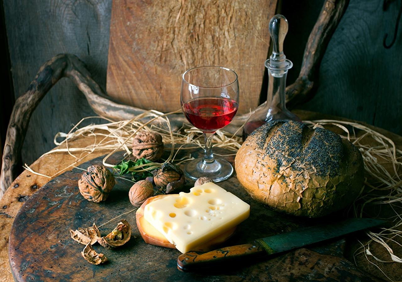 Картинки Вино Хлеб Сыры бокал Продукты питания Орехи Натюрморт Еда Пища Бокалы