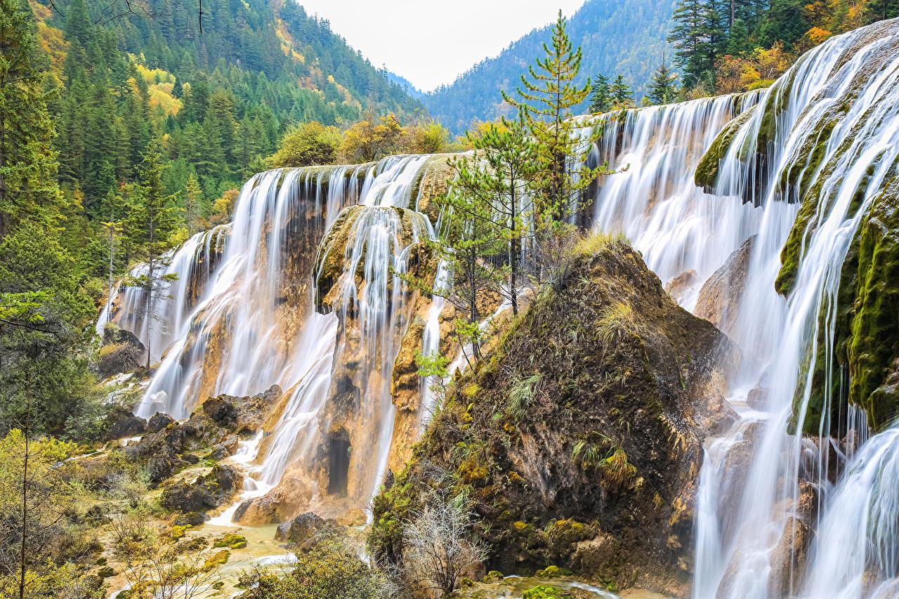 Фото Утес Природа Водопады лес Скала скале скалы Леса