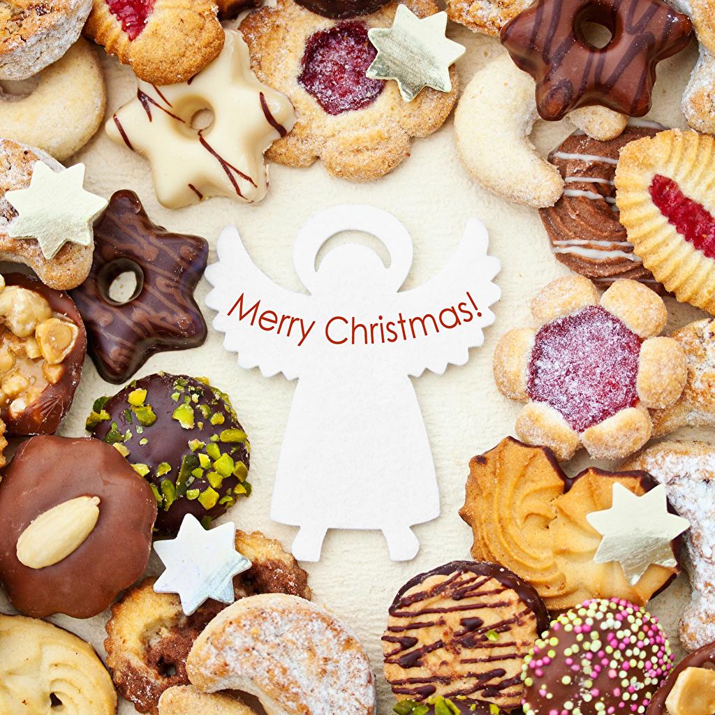 Картинки Новый год Шоколад Еда Печенье Рождество Пища Продукты питания
