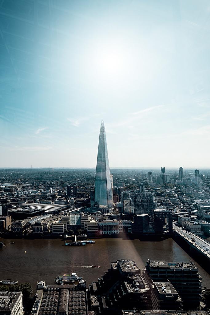 Фотография Лондон Англия The Shard, Thames река Небоскребы Города  для мобильного телефона лондоне Реки речка город