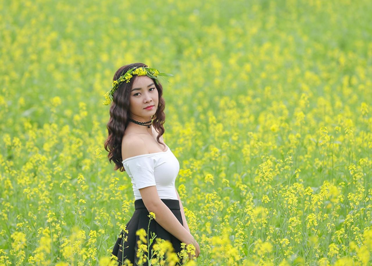 Фото Рапс Венок Девушки Поля азиатка венком девушка молодые женщины молодая женщина Азиаты азиатки