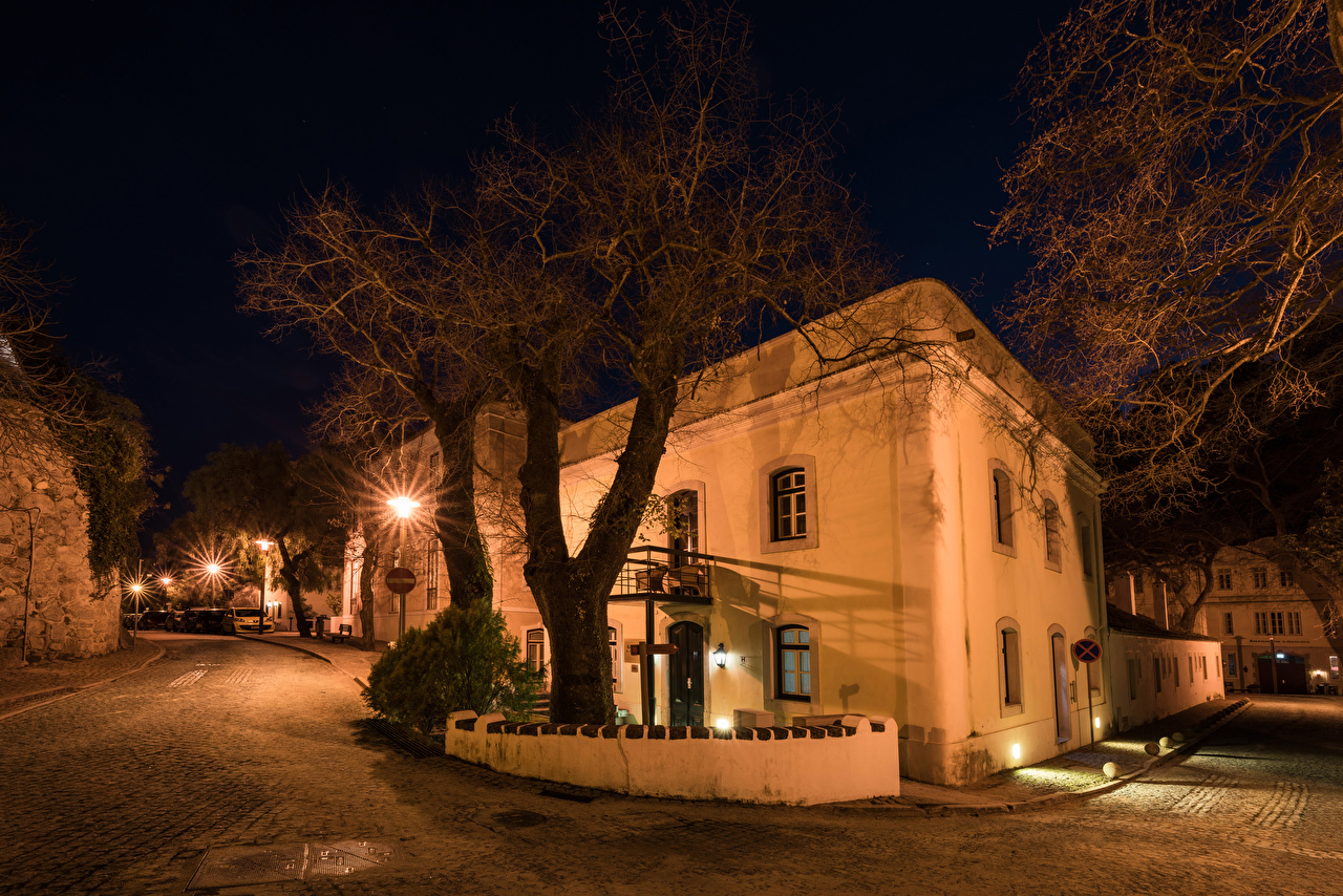 Фотографии Португалия Monchique Улица Ночные Уличные фонари Здания Города Деревья Ночь Дома