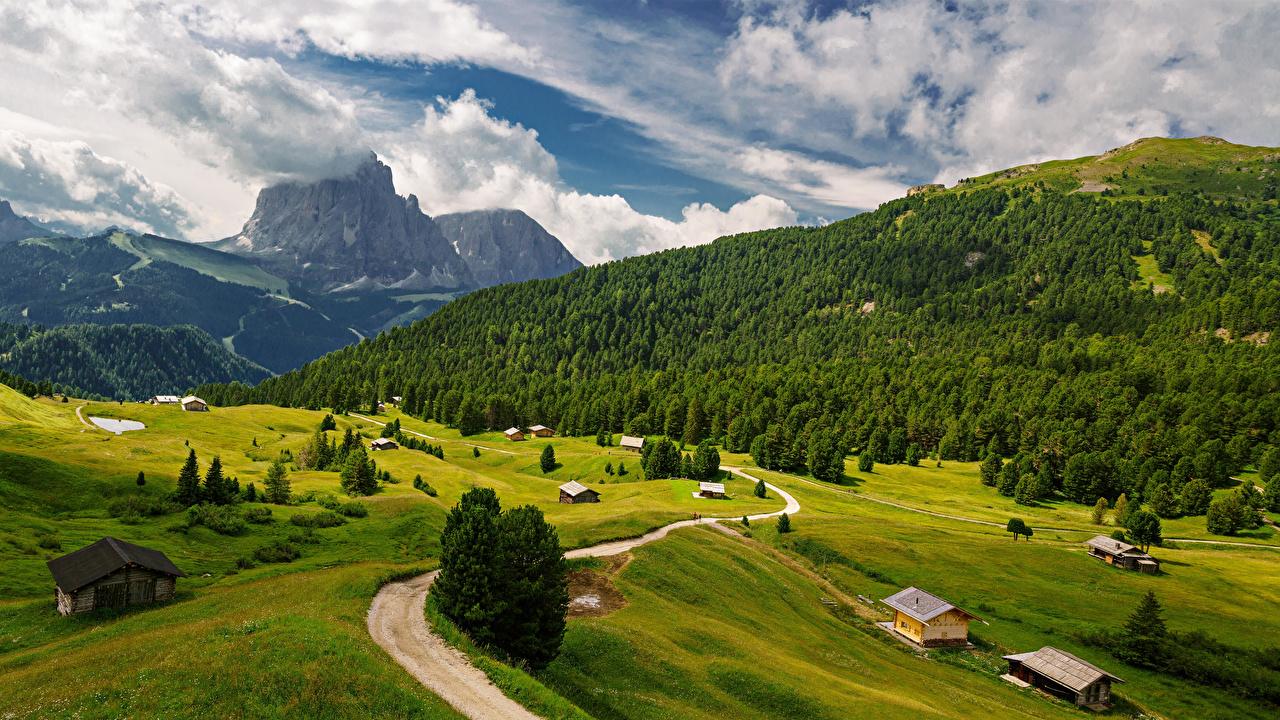 Фото альп Италия Trentino-Alto Adige Горы Природа Пейзаж Дороги Облака Альпы гора облако облачно