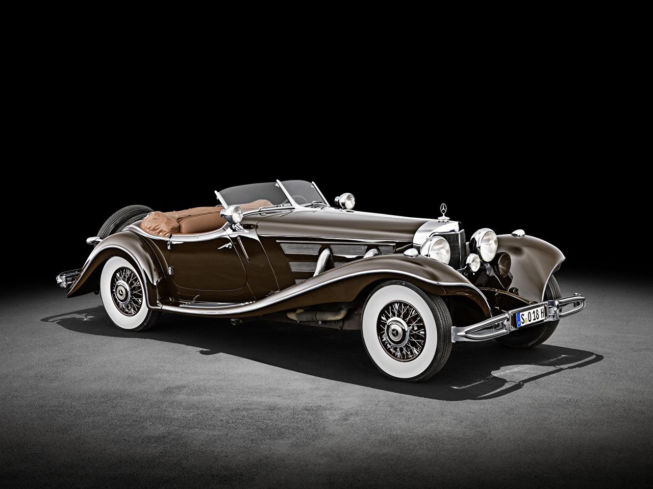 Фото Mercedes-Benz 500 K Special Roadster (W 29), 1934 Родстер Ретро коричневая машина Мерседес бенц винтаж старинные коричневые Коричневый авто машины Автомобили автомобиль
