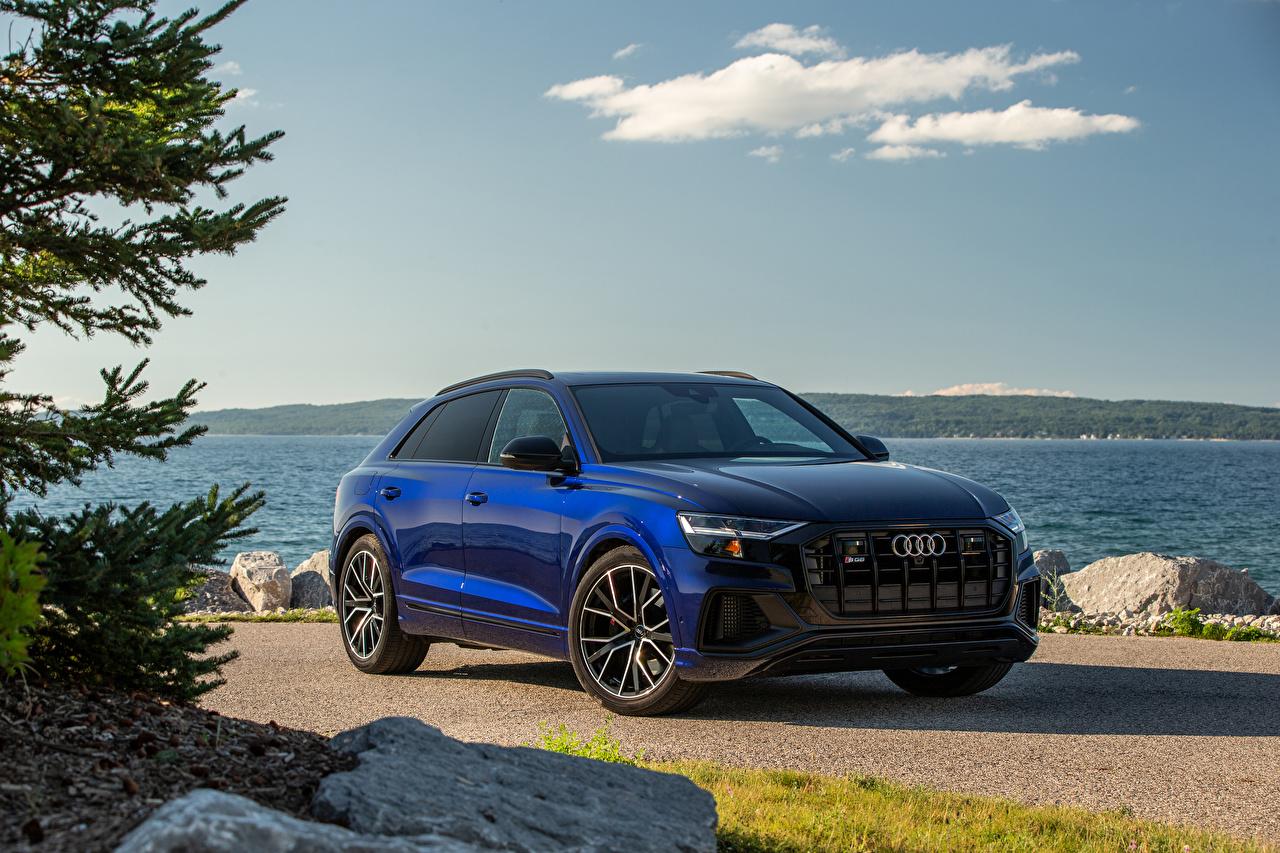 Фотографии Ауди CUV SQ8 TFSI, North America, 2020 синяя авто Металлик Audi Кроссовер Синий синие синих машина машины Автомобили автомобиль