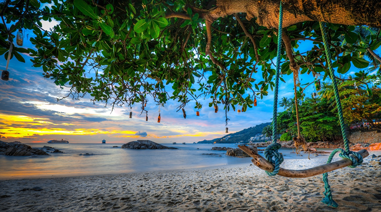 Картинки Таиланд Качели Phuket, Andaman Sea пляже HDRI Море Природа ветка дерево качелях Пляж пляжа пляжи HDR ветвь Ветки на ветке дерева Деревья деревьев