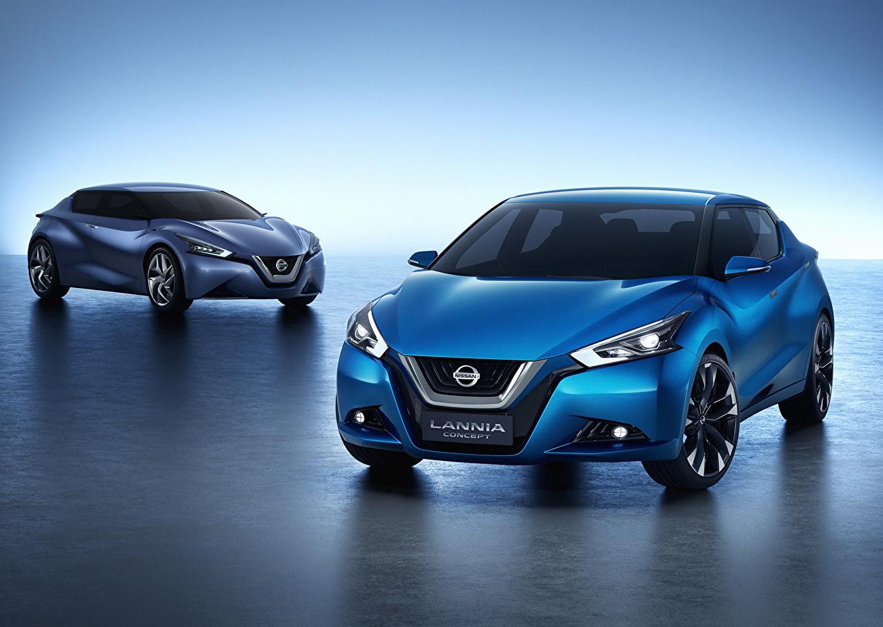 Обои для рабочего стола Nissan 2014 Lannia 2 Голубой автомобиль Ниссан два две Двое вдвоем голубая голубые голубых авто машины машина Автомобили