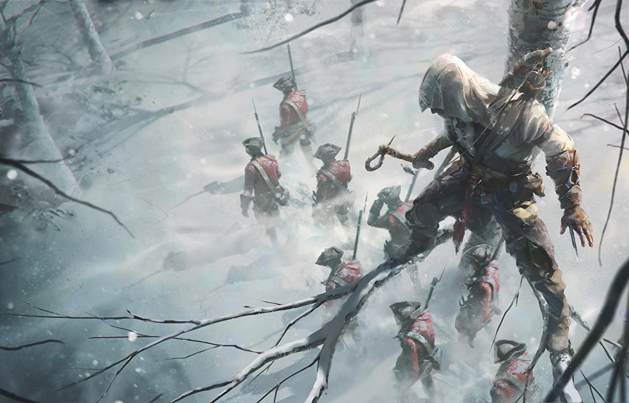 Картинки Assassin's Creed 3 Солдаты Воители Мужчины Зима компьютерная игра Ветки солдат воин воины мужчина зимние Игры ветвь ветка на ветке
