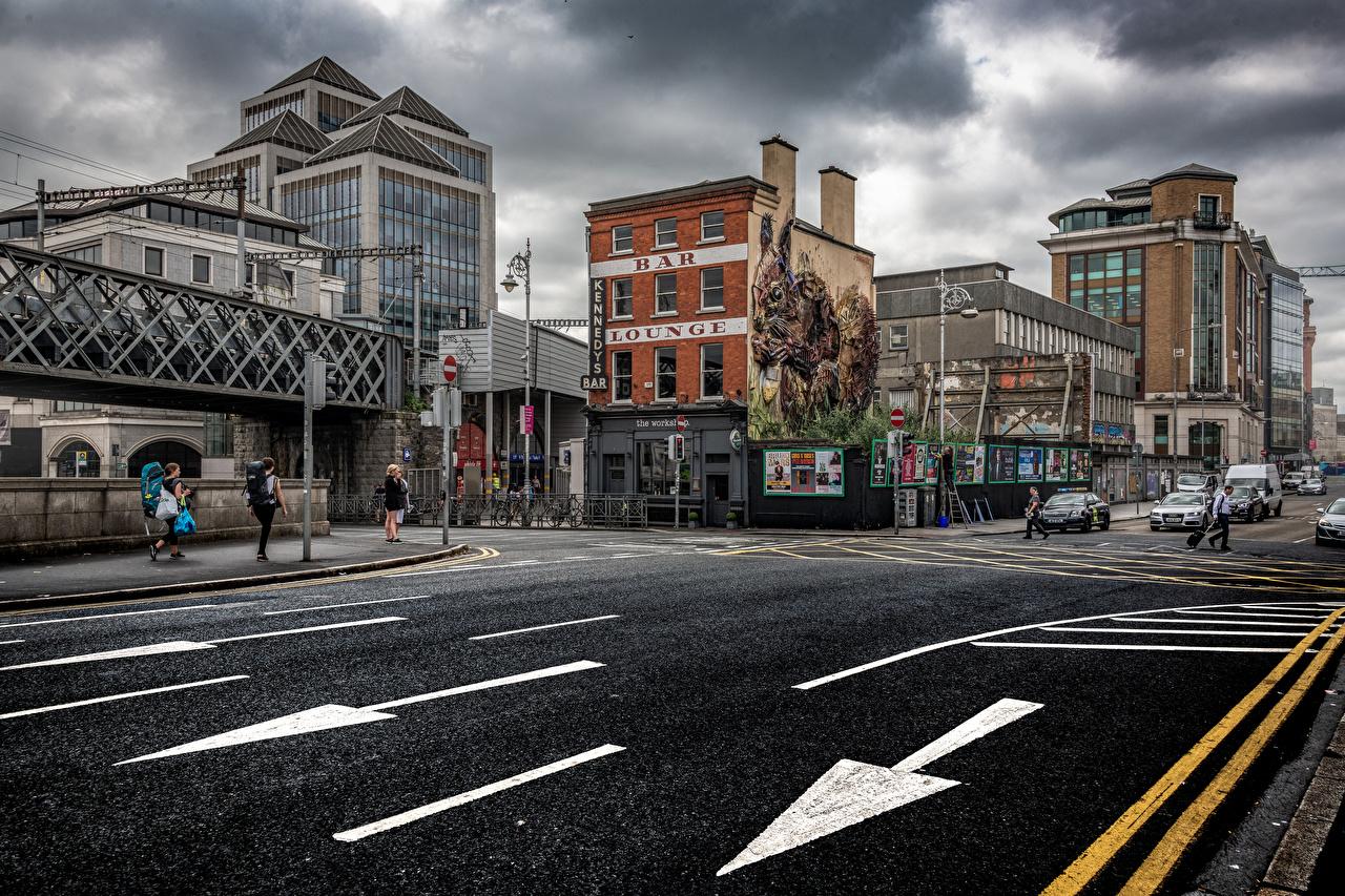 Обои для рабочего стола Дублин Ирландия Улица Дороги город Здания улиц улице Дома Города