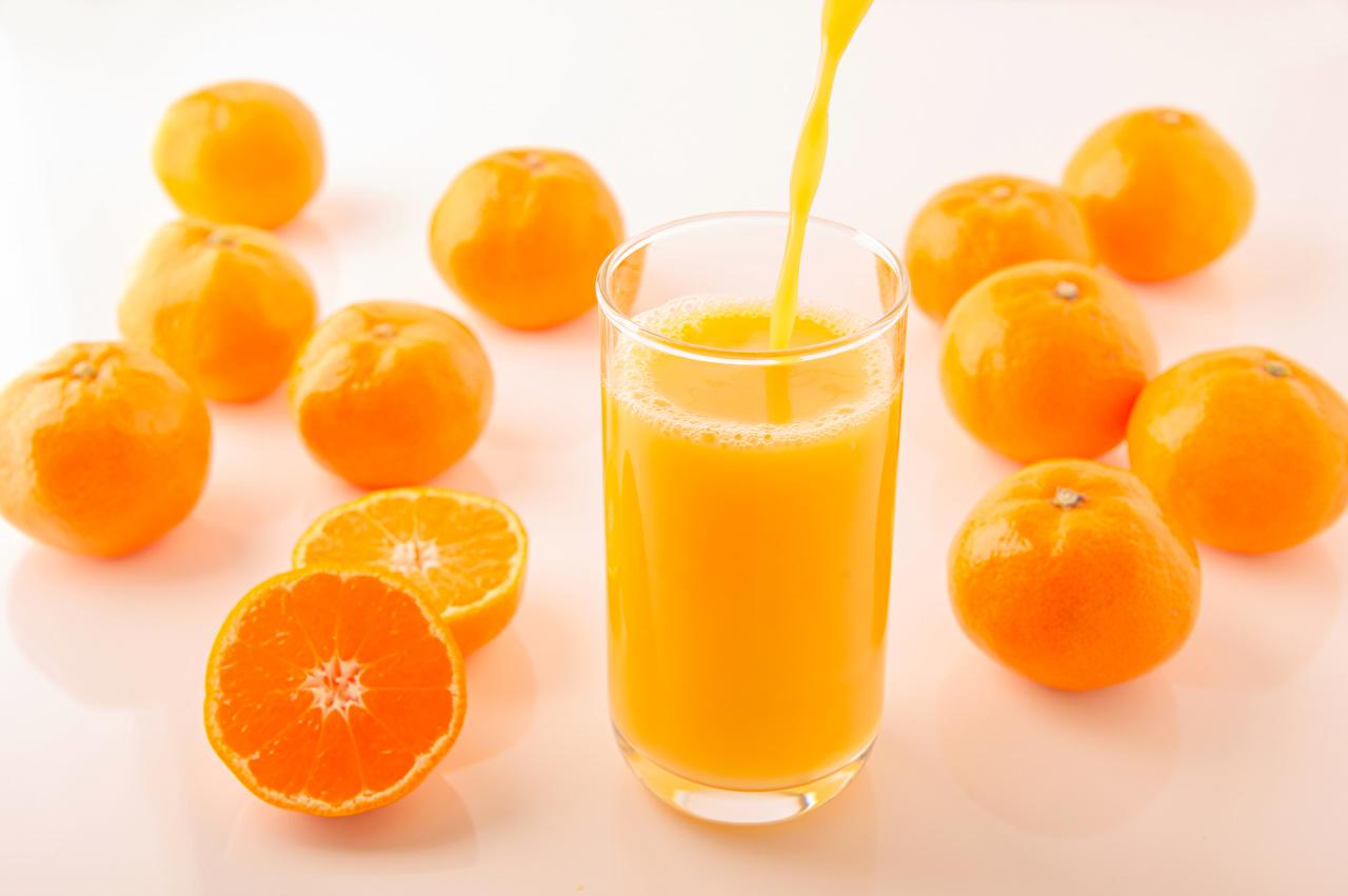 Обои Сок Мандарины Стакан Еда стакана стакане Пища Продукты питания