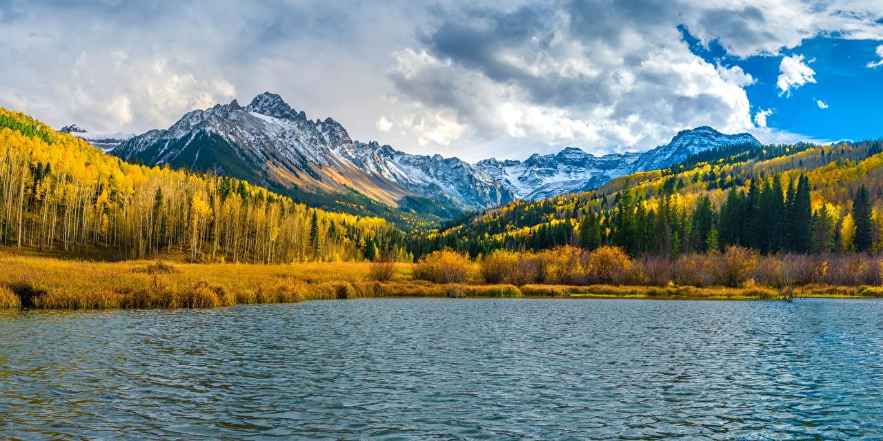 Картинка США панорамная Mount Sneffels гора осенние Природа Озеро Облака штаты америка Панорама Горы Осень облако облачно