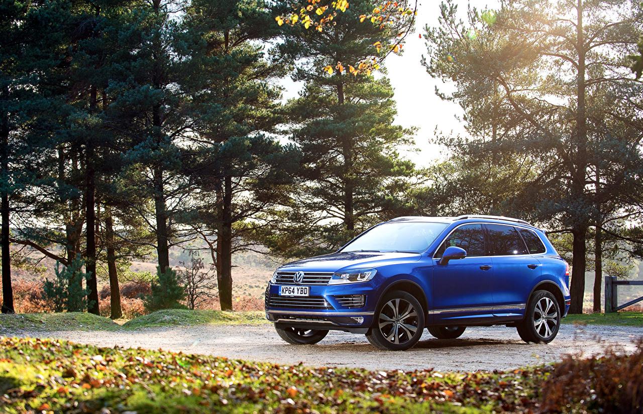 Картинка Volkswagen 2014 Touareg R-Line Голубой машины Фольксваген голубая голубые голубых авто машина Автомобили автомобиль