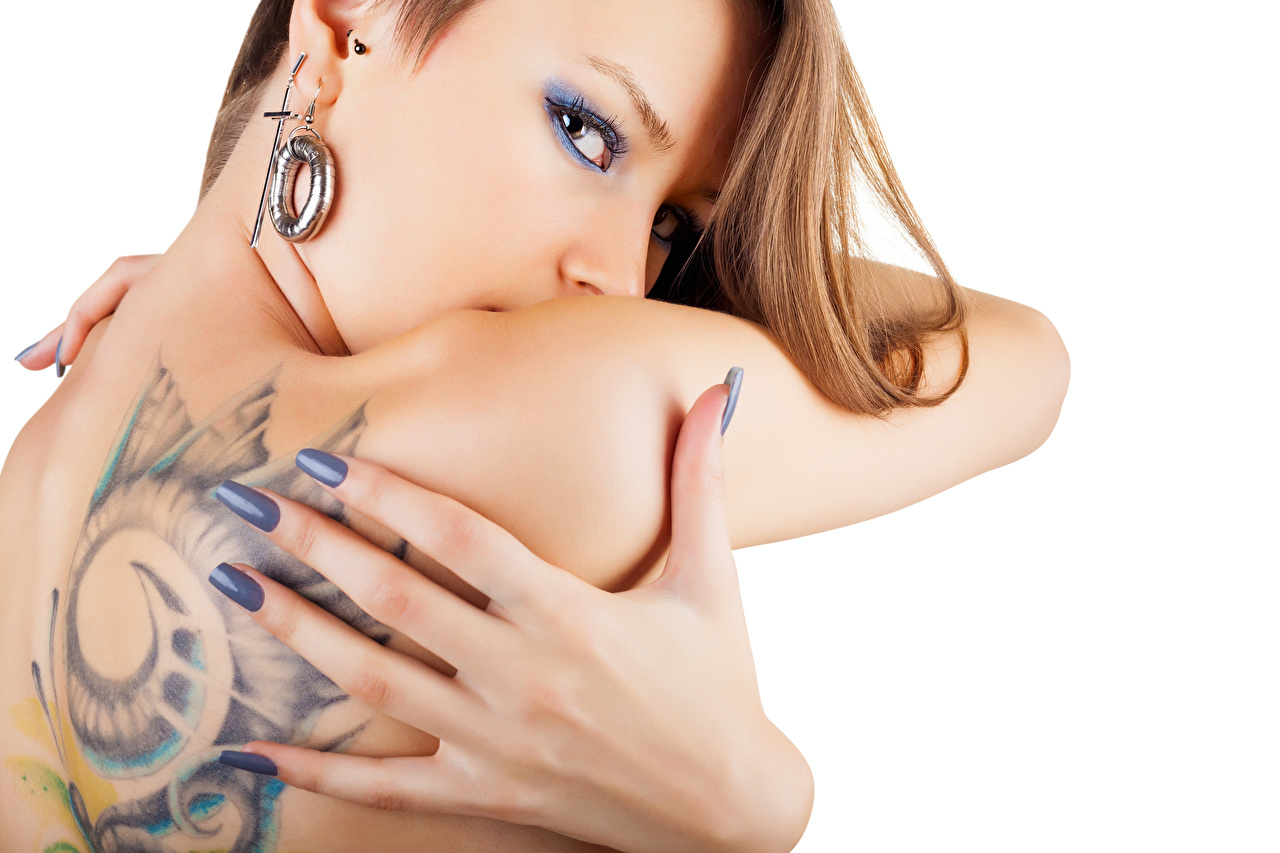 Фото Татуировки Спина Девушки Руки Пальцы Белый фон тату