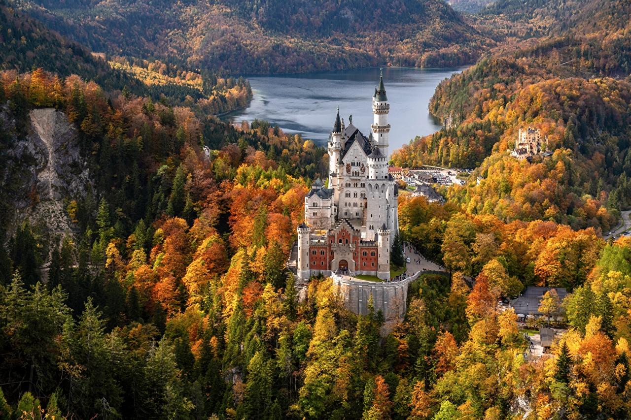 Обои для рабочего стола Бавария Нойшванштайн Германия Башня Schwansee Осень Замки Природа лес Озеро башни замок осенние Леса