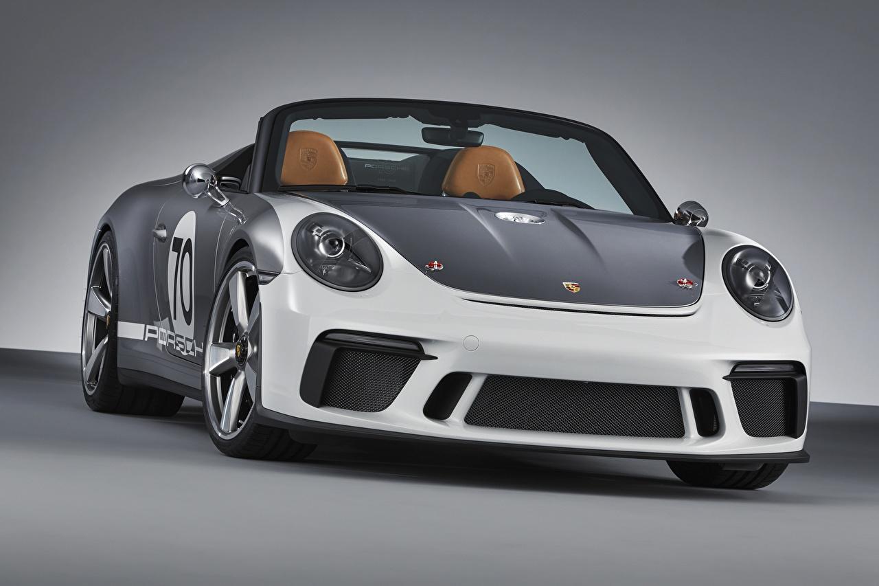 Картинки Porsche 2018 911 Speedster Concept кабриолета машины Спереди Порше Кабриолет авто машина Автомобили автомобиль