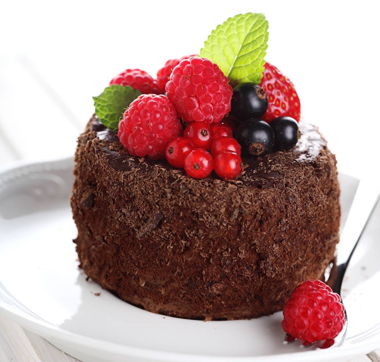 Обои для рабочего стола Малина Смородина Продукты питания Пирожное Сладости Еда Пища сладкая еда