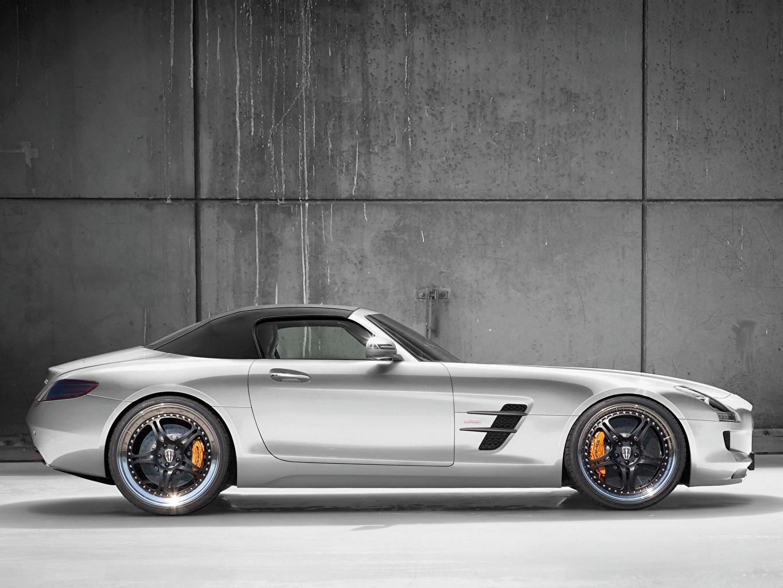 Картинка Mercedes-Benz Kicherer SLS63 Supersport Roadster Родстер Серебристый Сбоку автомобиль Мерседес бенц серебряный серебряная серебристая авто машина машины Автомобили