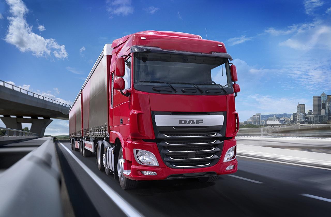 Картинки DAF Trucks Грузовики XF 440 FTG Space Cab Euro 6 6х2 Природа Движение Авто Даф тракс едет едущий едущая скорость Машины Автомобили