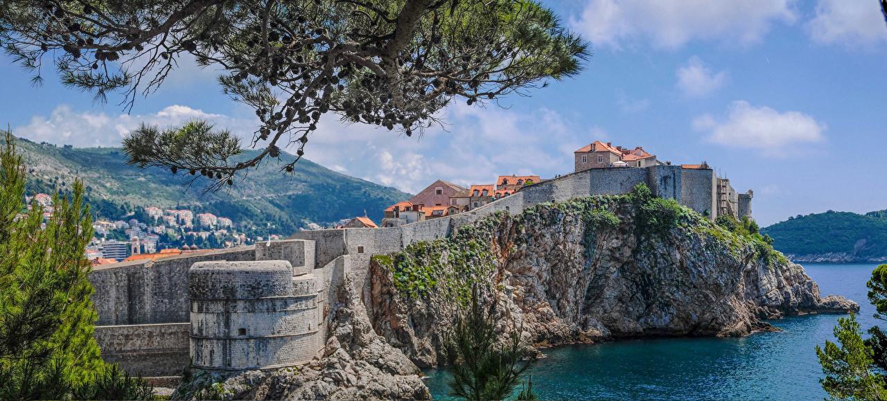 Фотографии Дубровник Хорватия скале стены залива город Здания Утес Скала скалы Залив Стена стене заливы стенка Дома Города