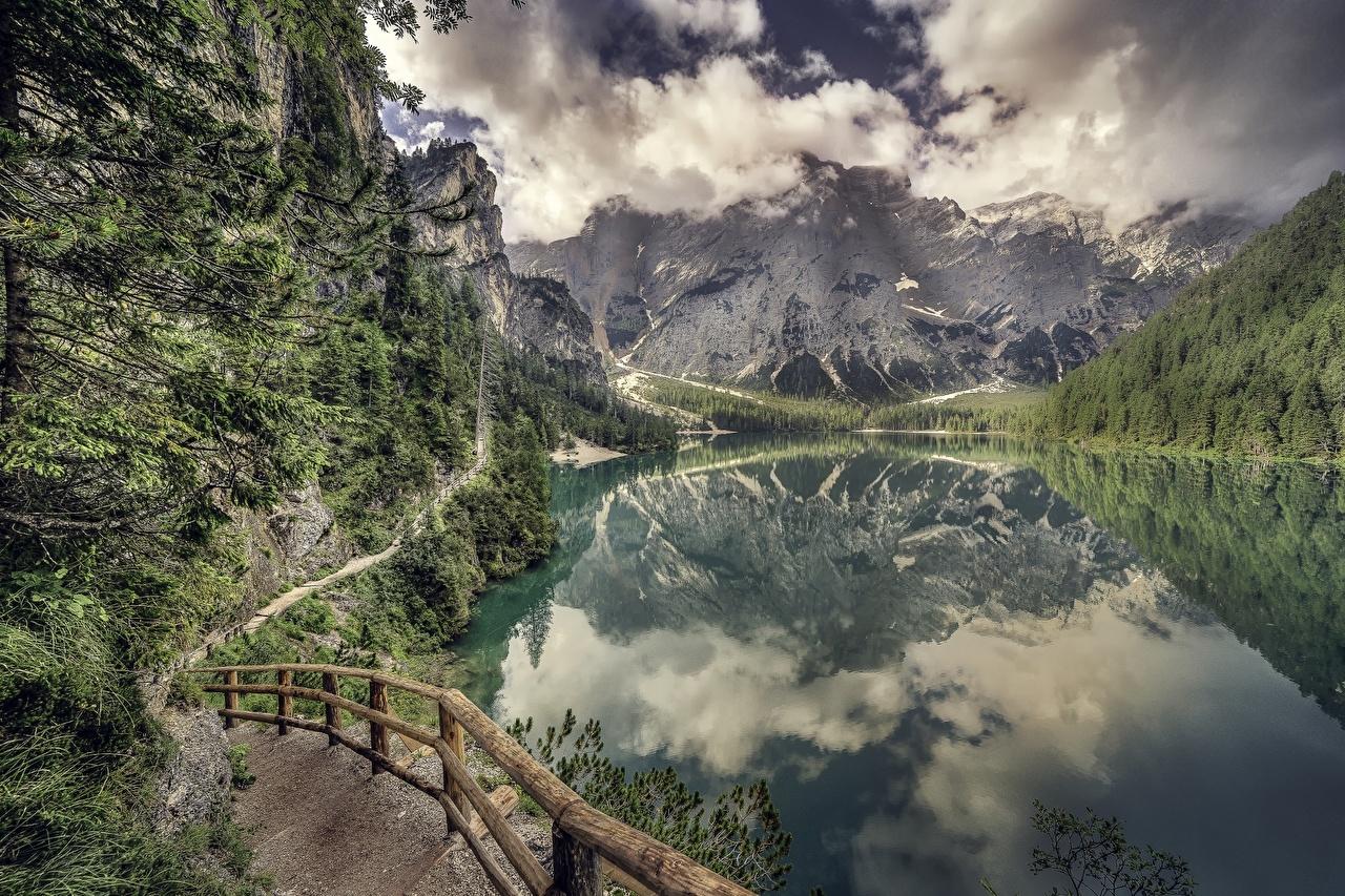 Фото Горы Природа Озеро Забор Пейзаж Облака гора ограда забора забором облако облачно
